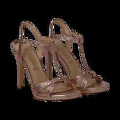 Sandalo rosa in laminato, tacco 10,50 cm, Sandali con tacco, 132127402LMROSA035, 002 preview