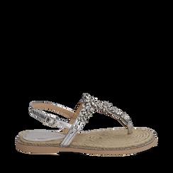 Sandali infradito argento laminati con pietre, Chaussures, 154950331LMARGE037, 001a