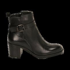 Ankle boots neri in pelle di vitello, tacco 6,50 cm , Primadonna, 16D808225VINERO038, 001 preview