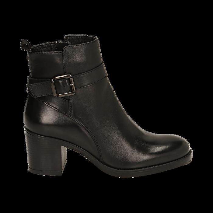 Ankle boots neri in pelle di vitello, tacco 6,50 cm , Primadonna, 16D808225VINERO038