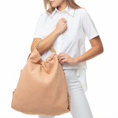 Maxi-bag nude in microfibra ,