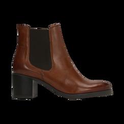 Chelsea Boots in vera pelle colore cuoio, tacco medio 6 cm, Scarpe, 127711422PECUOI, 001 preview