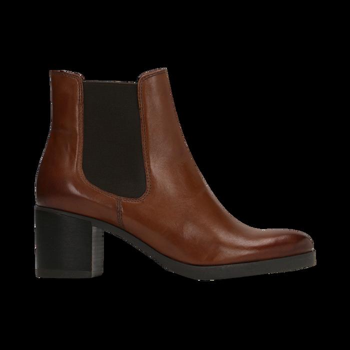 Chelsea Boots in vera pelle colore cuoio, tacco medio 6 cm, Scarpe, 127711422PECUOI