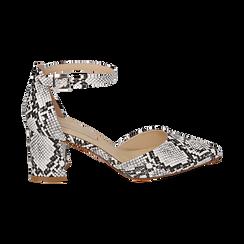 Décolleté en eco-piel con estampado de serpiente en blanco/negro con tira, tacón 6,50 cm, Zapatos, 152182391PTBINE036, 001 preview