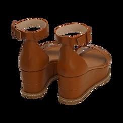Sandali cuoio, zeppa 6,50 cm, Scarpe, 154926113EPCUOI, 004 preview