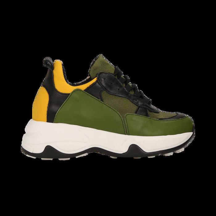 """Sneakers nero-verde  con zeppa effetto """"wave"""", Primadonna, 12A600999PENEVE039"""