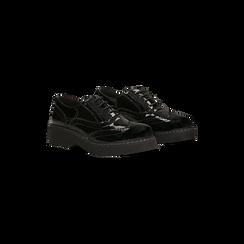 Francesine stringate vernice nera dettagli lavorazione Duilio, Scarpe, 120639061VENERO, 002 preview