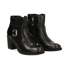 Bottines noires en simili-cuir avec une boucle, talon de 6,50 cm , Chaussures, 150682987EPNERO036, 002 preview