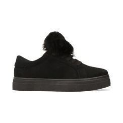 Sneakers nere con pon pon in eco-fur, Primadonna, 121081755MFNERO, 001 preview