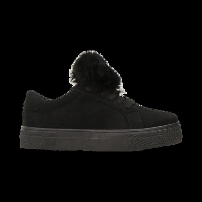 Sneakers nere con pon pon in eco-fur, Primadonna, 121081755MFNERO