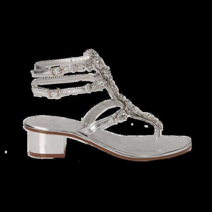 Sandali gioiello infradito argento in laminato, tacco 6 cm, Primadonna, 134986238LMARGE