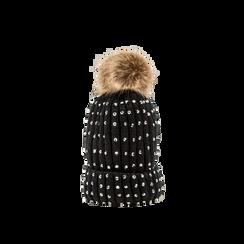 Berretto nero in lana con strass e pon-pon, Abbigliamento, 12B409806TSNERO, 001 preview