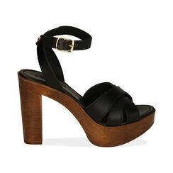Sandali neri in pelle, tacco 11,5 cm , Primadonna, 174304931PENERO035, 001 preview