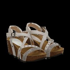 Sandali bianchi in eco-pelle con strass, zeppa in sughero 6 cm , Saldi Estivi, 117646314EPBIAN035, 002a