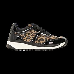 Sneakers leopard dettagli leopard e suola bianca in gomma, Scarpe, 120125906MFLEOP, 001 preview