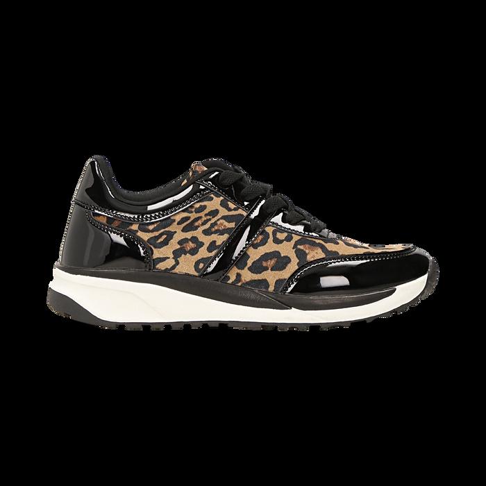 Sneakers leopard dettagli leopard e suola bianca in gomma, Scarpe, 120125906MFLEOP