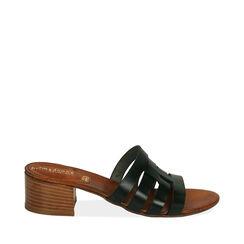 Sandali neri in pelle di vacchetta, tacco 4,5 cm , Primadonna, 177248215VANERO036, 001a