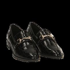 Mocasines negros con estampado de cocodrilo, Primadonna, 164964141CCNERO037, 002a
