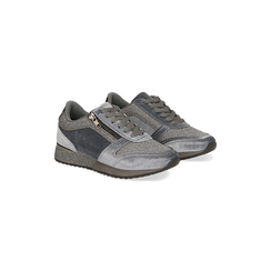 Sneakers grigie velluto e dettagli metal, Primadonna, 120127903VLGRIG035, 002