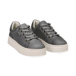 Sneakers argento glitter, suola 4 cm , Scarpe, 142509512GLARGE036, 002 preview