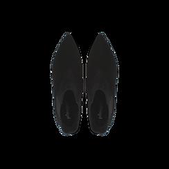 Stivaletti Chelsea neri in vero camoscio, tacco midi 6 cm, Primadonna, 12D618401CMNERO036, 004 preview