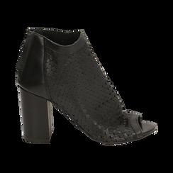 Bottines noires à bout ouvert en cuir de veau, talon de 9 cm, Chaussures, 15A217013VINERO036, 001 preview