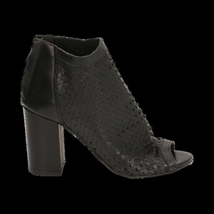 Ankle boots open toe neri in pelle di vitello, tacco 9 cm, Scarpe, 15A217013VINERO036