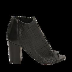 Botines open toe en vitello color negro, tacón 9 cm, Zapatos, 15A217013VINERO036, 001a