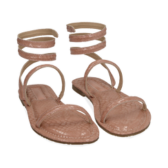 Sandali flat nude in eco-pelle snake print, Chaussures, 154928863PTNUDE036, 002 preview