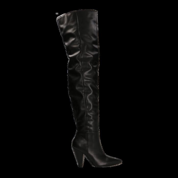 size 40 415f7 24f7f Stivali sopra il ginocchio gambale largo, tacco a cono 7,5 cm