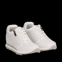Sneakers bianche in eco-pelle con zip , Scarpe, 132899172EPBIAN035, 002a