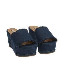 Zapatillas jeans tela, cuña 8,5 cm, 172709374TSJEAN036, 002a