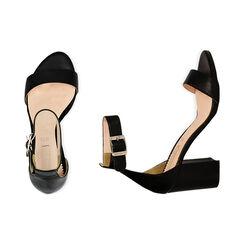 Sandali neri in pelle di vitello, tacco 8,5 cm, Primadonna, 15D600501VINERO040, 003 preview