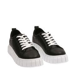 Sneakers nere, zeppa 3,5 cm , PROMOZIONI, 18K621055EPNERO036, 002a