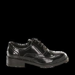 Stringate nere in eco-pelle abrasivata con lavorazione Duilio, Scarpe, 140618203ABNERO036, 001a