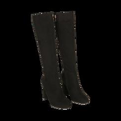 Stivali neri in microfibra, tacco 9 cm , Scarpe, 142182525MFNERO035, 002 preview