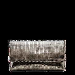"""Pochette grigia canna di fucile in laminato, effetto """"serpente"""", Primadonna, 122900003LMCANNUNI, 001a"""