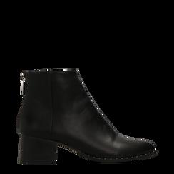 Tronchetti neri con zip, tacco medio 4,5 cm, Primadonna, 122752721EPNERO035, 001a