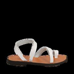 Sandali minimal bianchi in pelle di vacchetta, NEW IN, 138100064VABIAN036, 001a