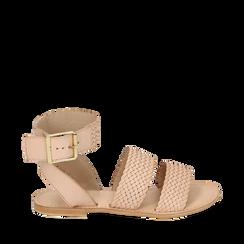 Sandali beige in pelle intrecciata, Primadonna, 156707446PIBEIG036, 001a