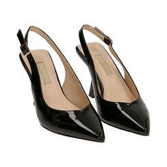 Slingback negro de charol, tacón 8 cm,  Zapatos, 174823795VENERO037, 002 preview