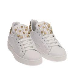 Baskets en cuir blanc à paillettes dorées, Primadonna, 17L600400PEBIOR035, 002a