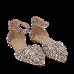 Bailarinas con brillantes de microfibra en color nude, Zapatos, 154968041MPNUDE037, 002a
