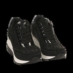 Sneakers nere in lycra con strass, zeppa 6 cm , Primadonna, 16A718206LYNERO036, 002a