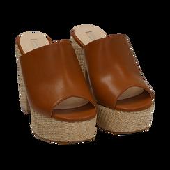 Mules cuoio in eco-pelle, tacco-zeppa 11 cm , Zapatos, 154903266EPCUOI036, 002 preview