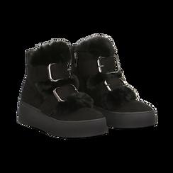 Scarponcini da neve neri con suola alta, Scarpe, 129306683MFNERO, 002 preview