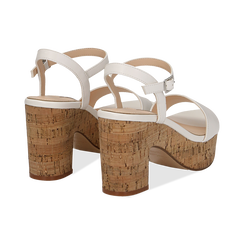 Sandali bianchi in eco-pelle, tacco in sughero 9 cm, Saldi Estivi, 138402256EPBIAN038, 004 preview