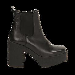 Ankle boots con plateau neri in pelle di vitello, tacco 11 cm , Primadonna, 160202020VINERO040, 001a