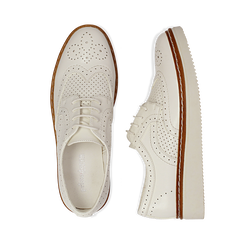 Stringate flatform bianche in eco-pelle, Scarpe, 133009503EPBIAN037, 003 preview