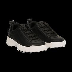 Dad shoes nere in eco-pelle con suola sagomata, Scarpe, 130101201EPNERO036, 002 preview